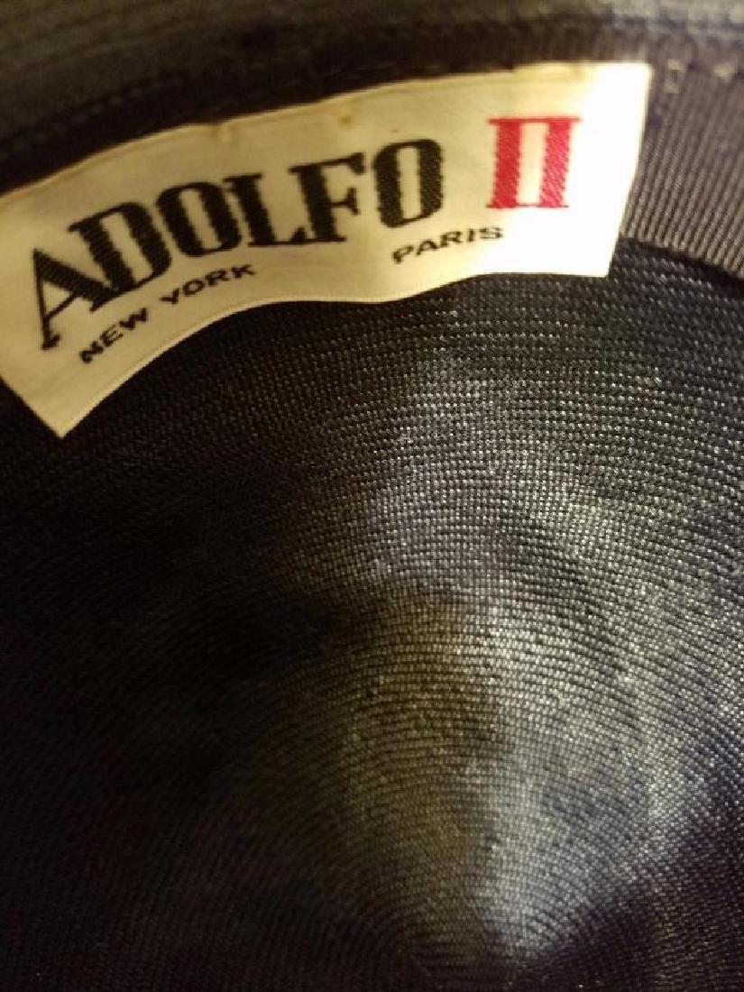 vtg Adolfo tilt brim straw hat millinery flower - 7