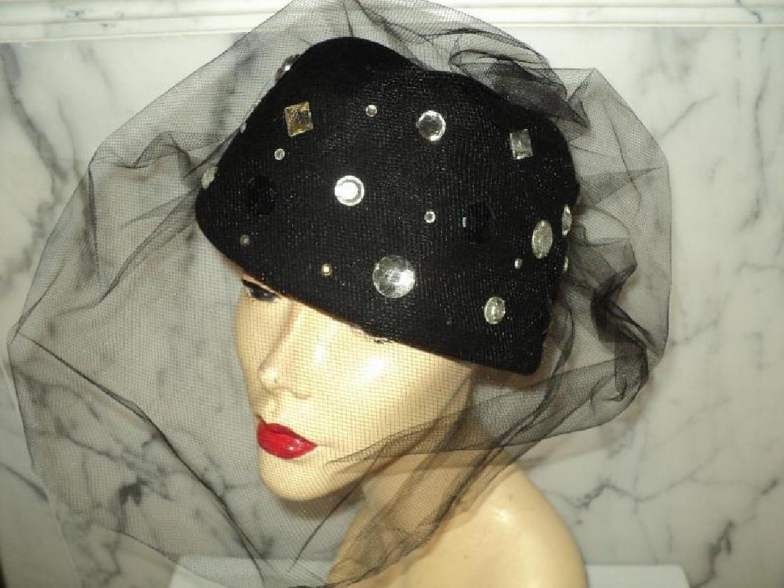 Vtg 1950's fascinator Breton wool felt hat stones