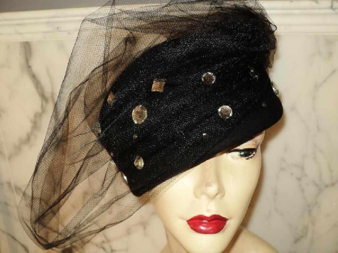 Vtg 1950's fascinator Breton wool felt hat stones - 3