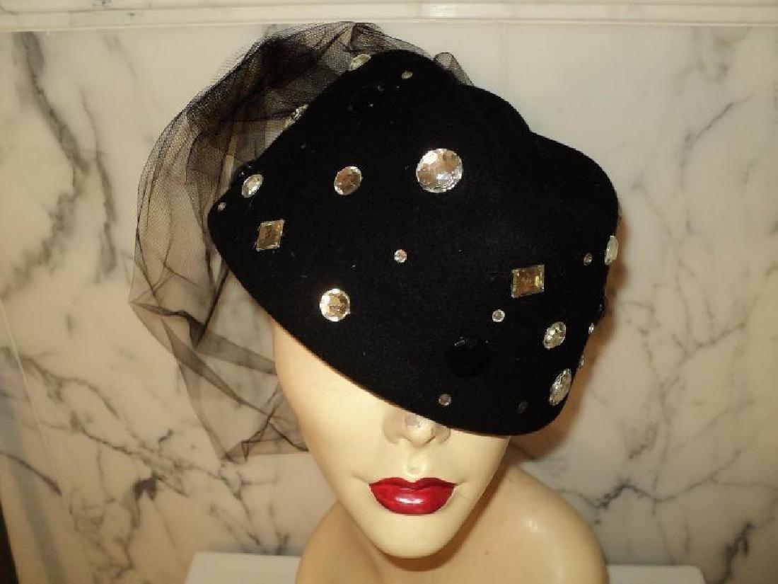 Vtg 1950's fascinator Breton wool felt hat stones - 4