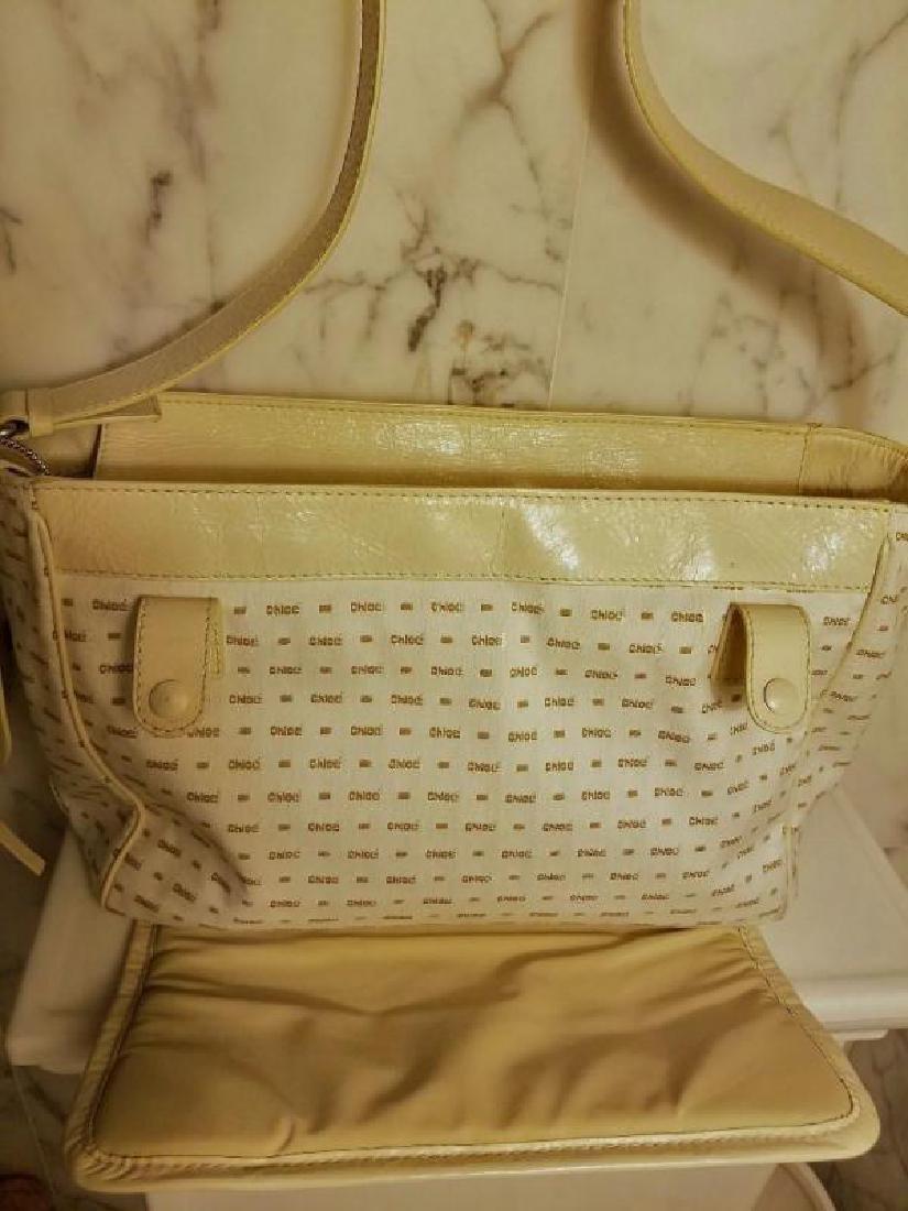 Chloe' Paris large shoulder -Diaper bag Leather canvas