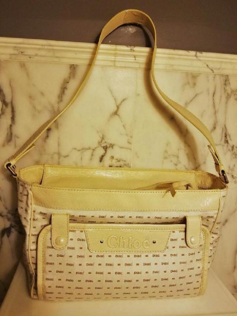 Chloe' Paris large shoulder -Diaper bag Leather canvas - 7