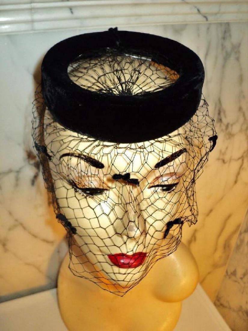 Vtg 1940's fascinator demi chapeau bows net open crane