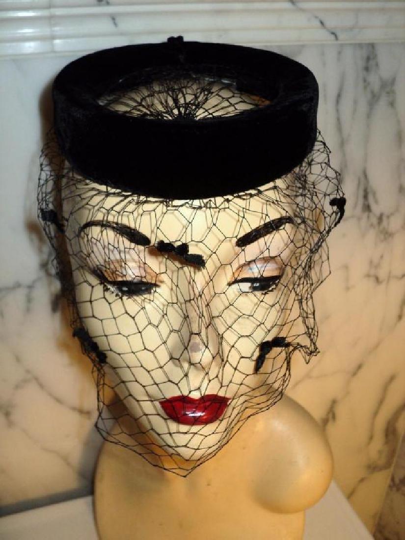 Vtg 1940's fascinator demi chapeau bows net open crane - 2