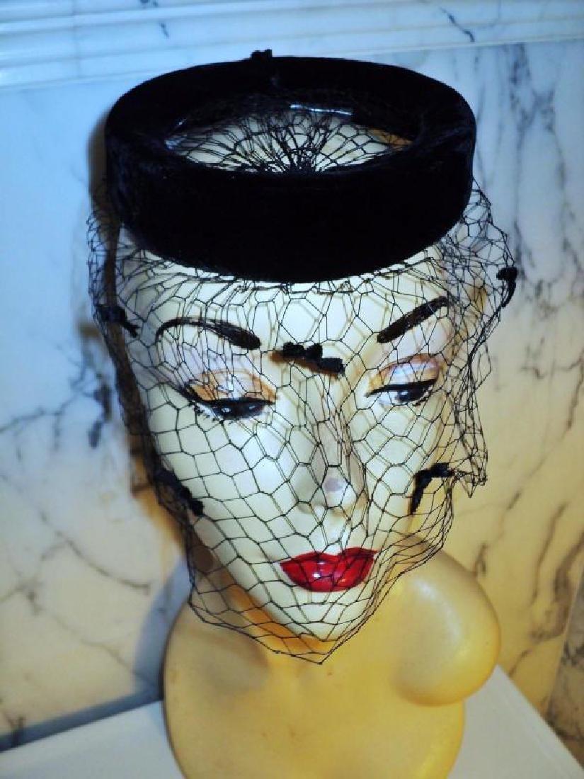 Vtg 1940's fascinator demi chapeau bows net open crane - 3