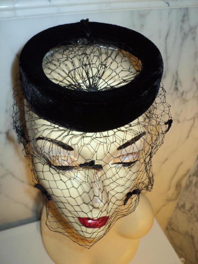 Vtg 1940's fascinator demi chapeau bows net open crane - 4