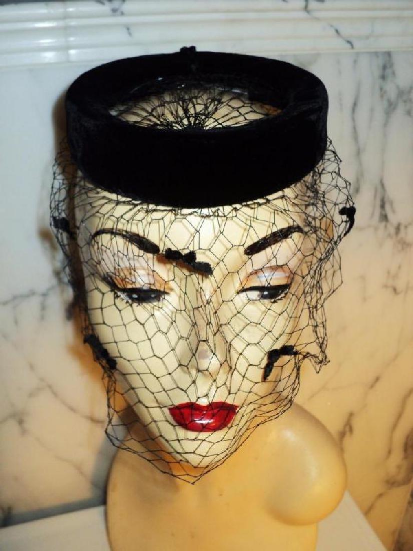 Vtg 1940's fascinator demi chapeau bows net open crane - 6