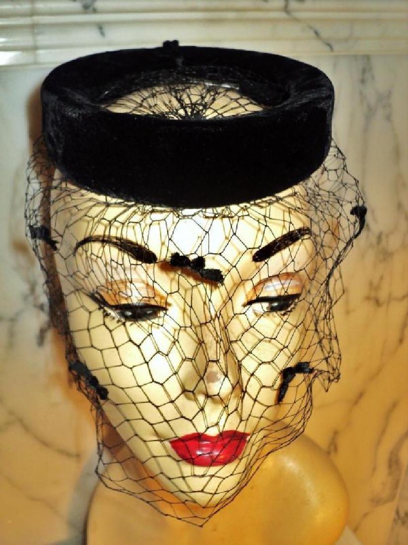 Vtg 1940's fascinator demi chapeau bows net open crane - 7