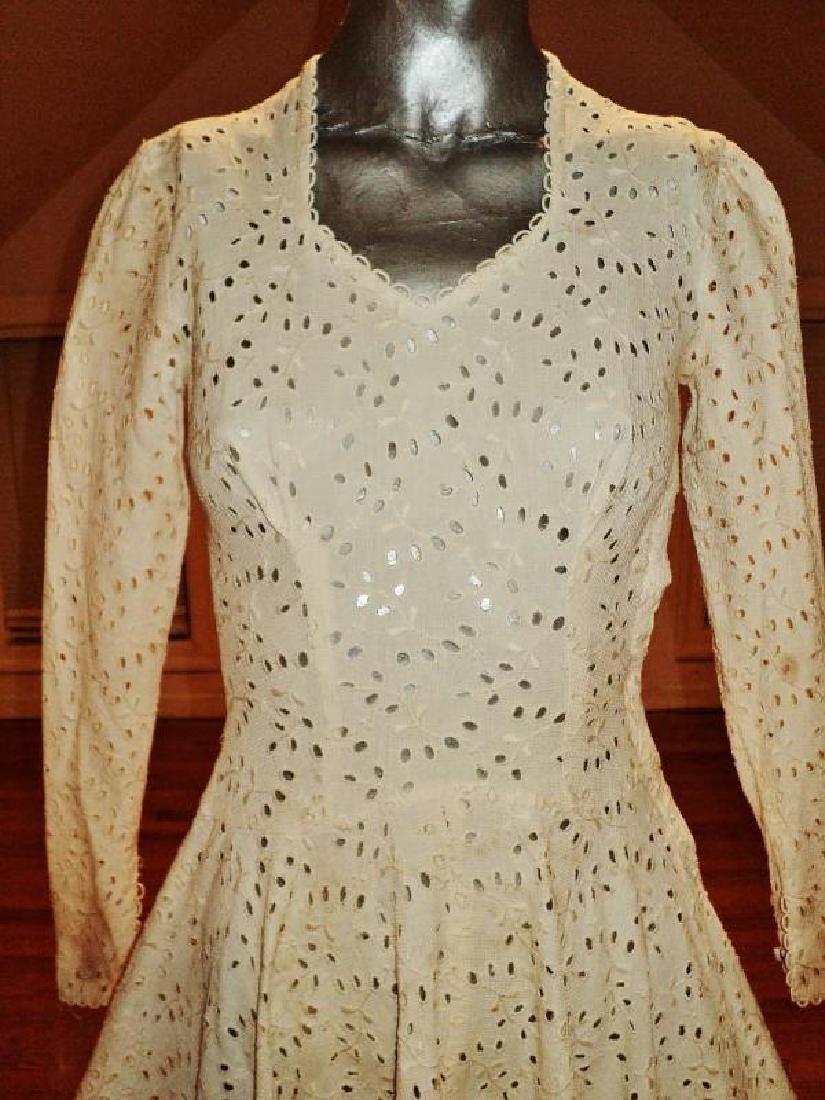 """Vtg 1930-40""""s embroidered eyelet tea/garden midi full - 4"""