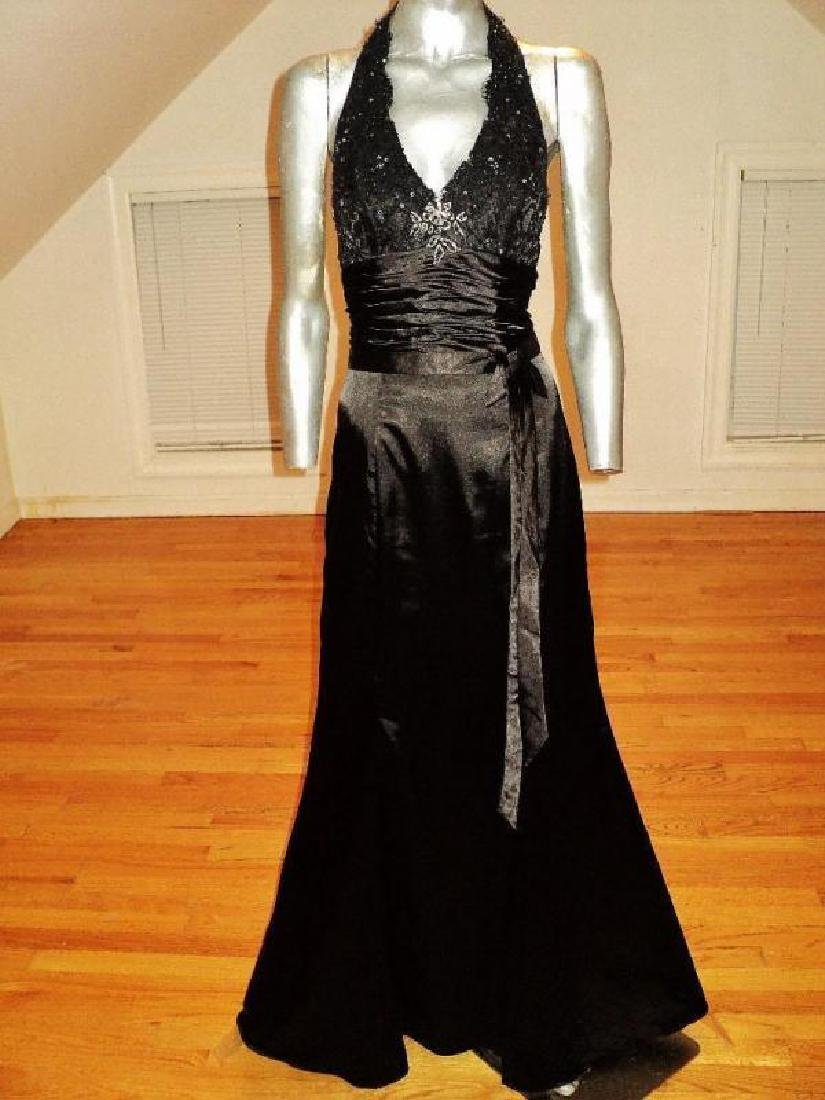 Vintage halter Satin gown shirred sash guipure lace