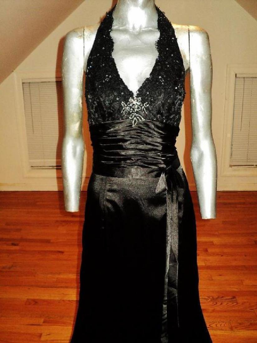 Vintage halter Satin gown shirred sash guipure lace - 2