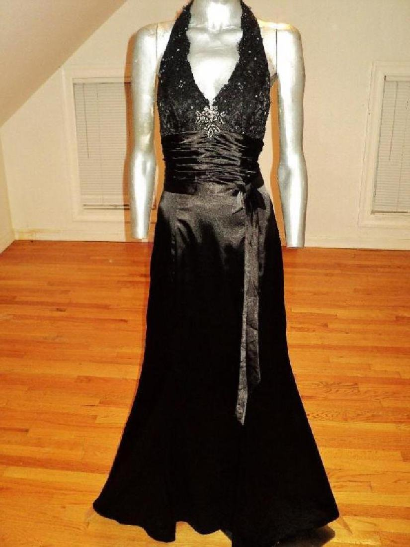 Vintage halter Satin gown shirred sash guipure lace - 3