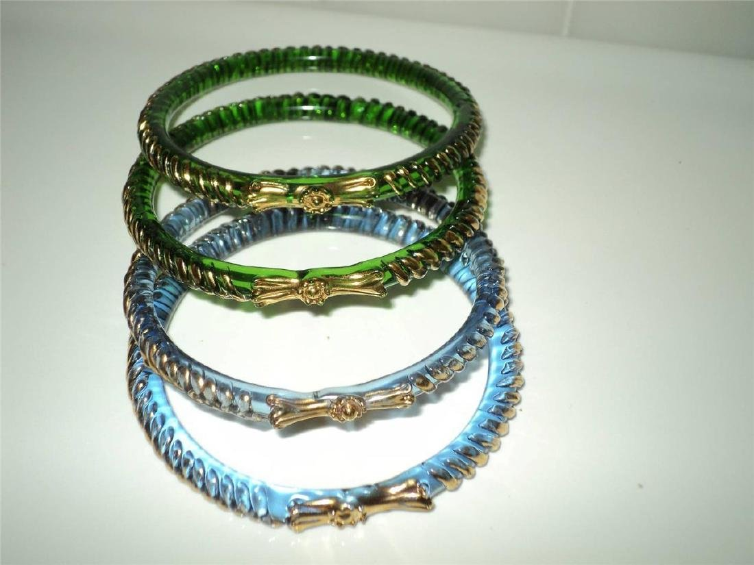 Vintage 1960 Austrian Glass Bangles (4) Faceted Gold