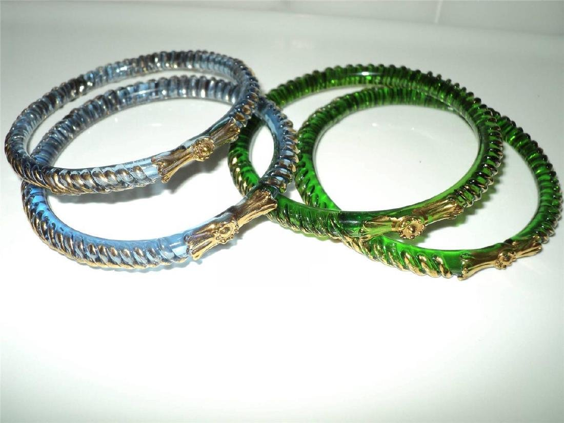 Vintage 1960 Austrian Glass Bangles (4) Faceted Gold - 7