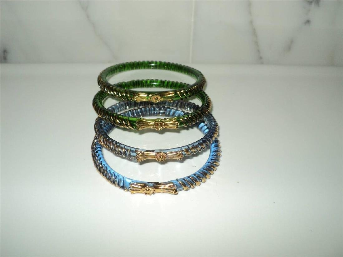 Vintage 1960 Austrian Glass Bangles (4) Faceted Gold - 9