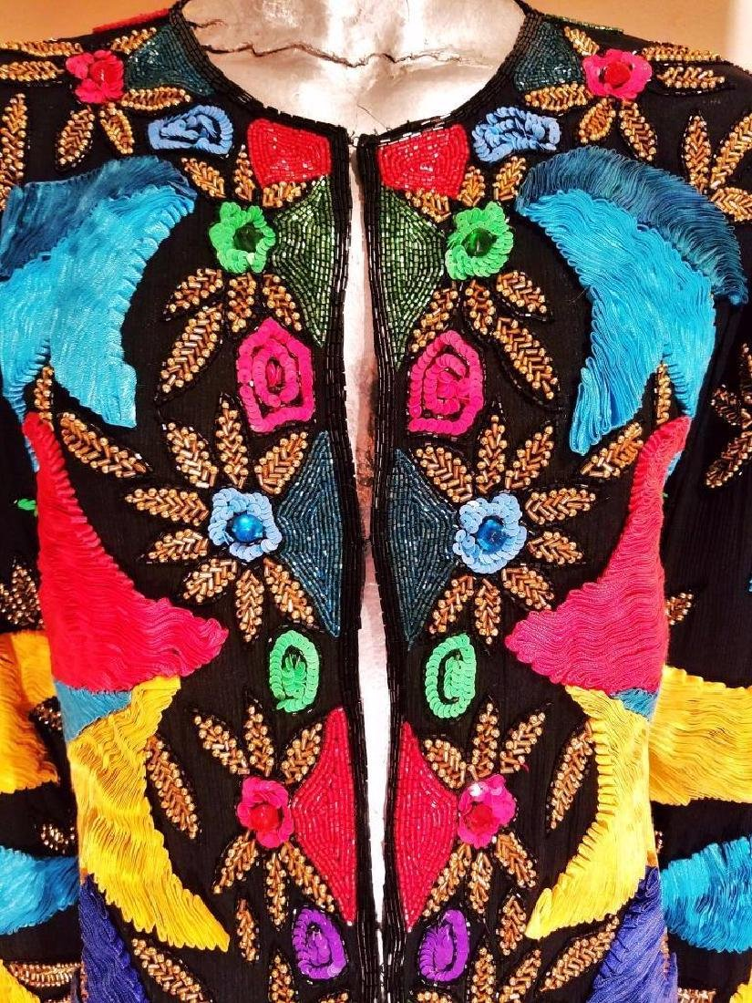 Detalles acerca de Vintage Bright beaded embroidered - 2