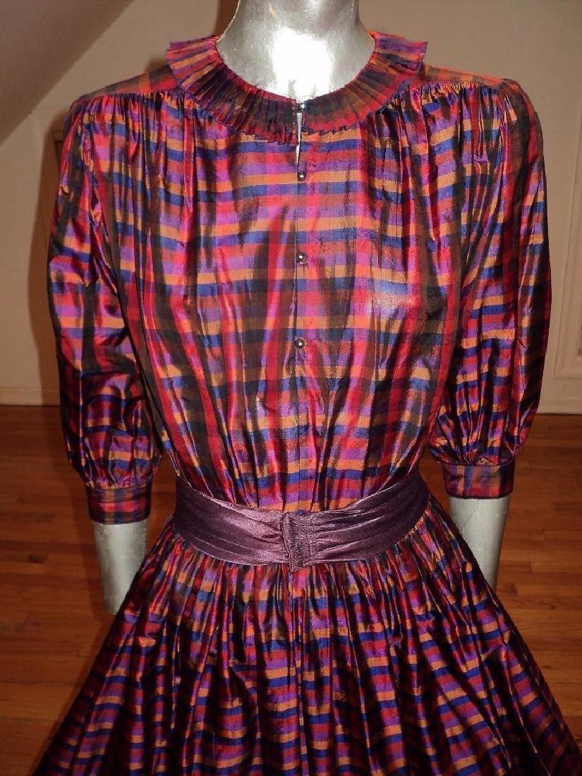 Vintage 1960 Full Sweep Silk Checker Dress Kay Unger - 10