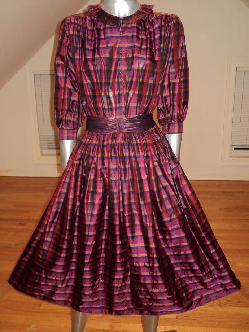 Vintage 1960 Full Sweep Silk Checker Dress Kay Unger