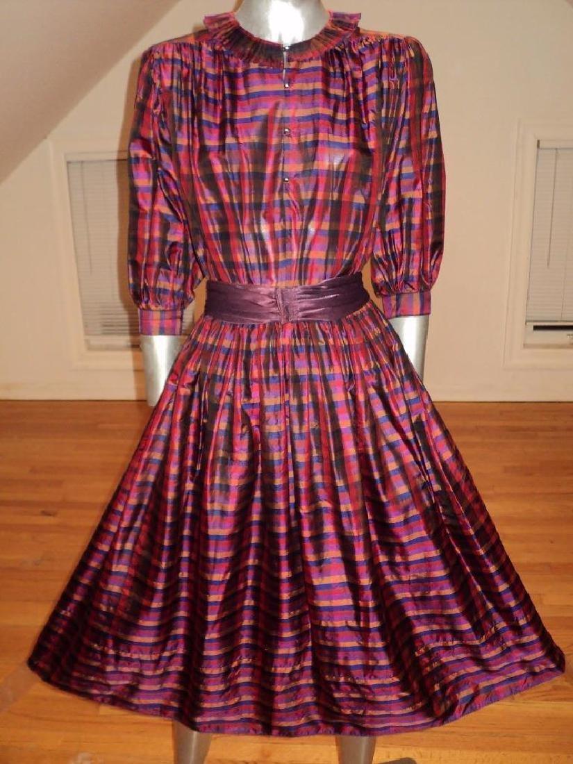 Vintage 1960 Full Sweep Silk Checker Dress Kay Unger - 2