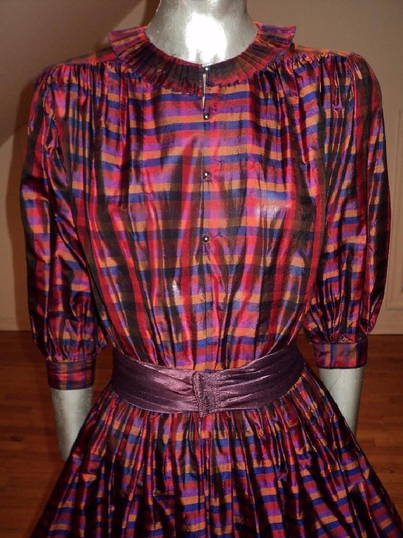 Vintage 1960 Full Sweep Silk Checker Dress Kay Unger - 3
