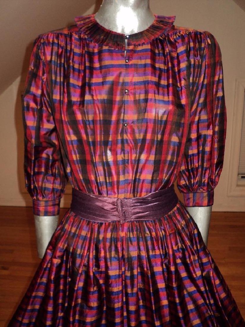 Vintage 1960 Full Sweep Silk Checker Dress Kay Unger - 4