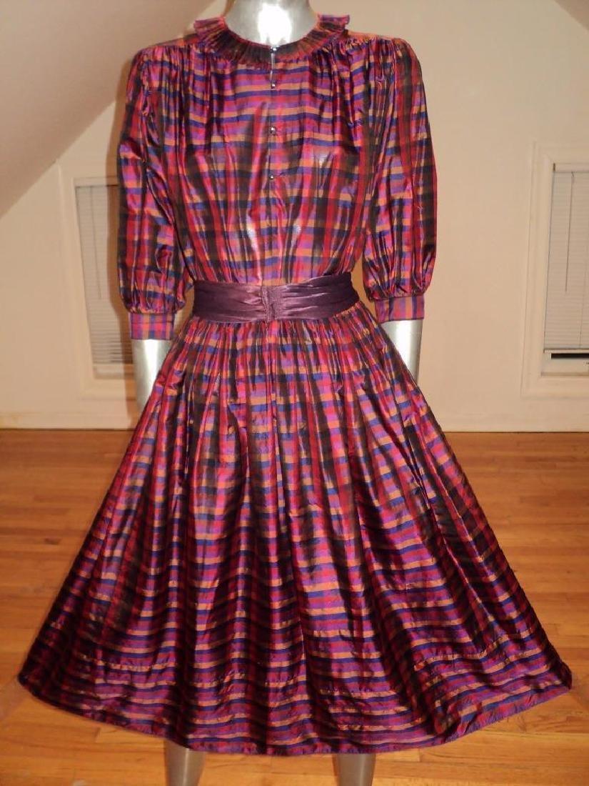 Vintage 1960 Full Sweep Silk Checker Dress Kay Unger - 5