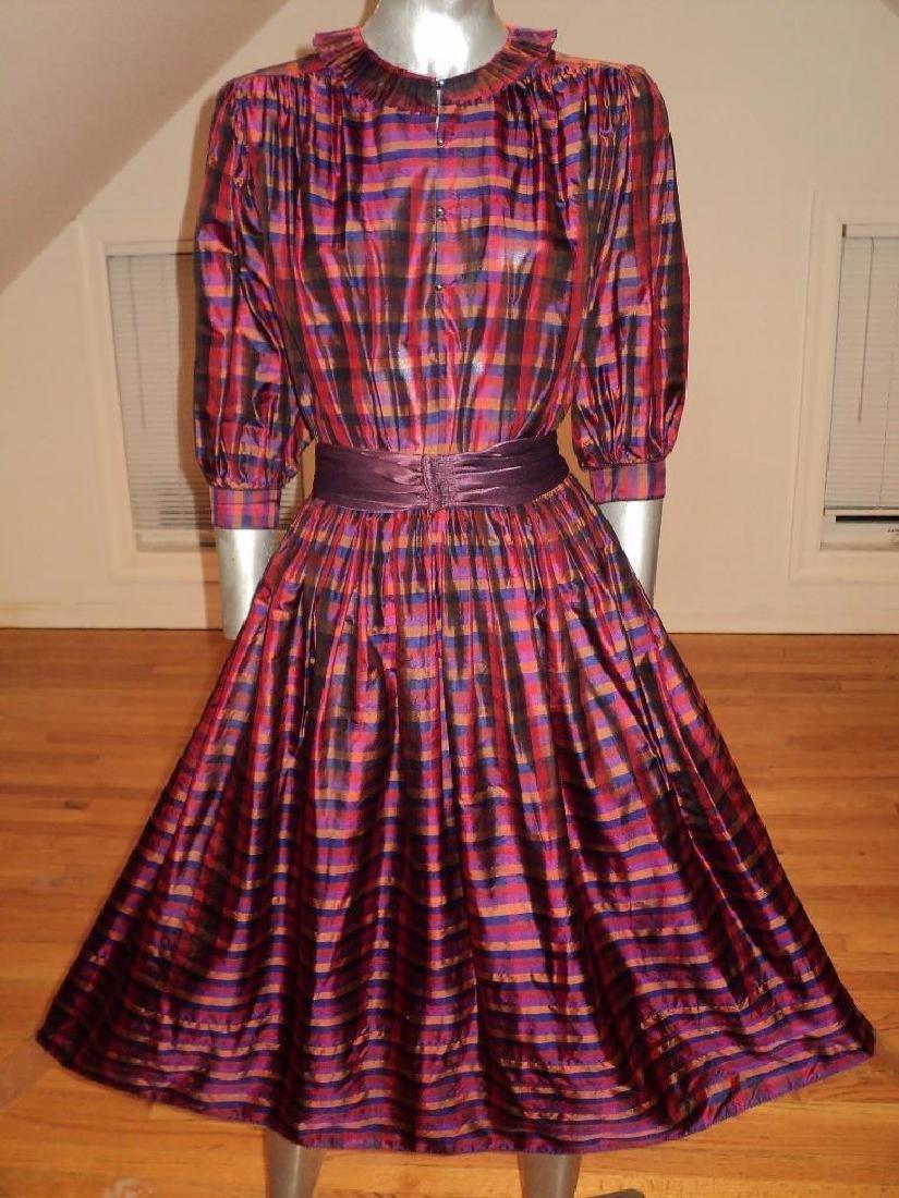 Vintage 1960 Full Sweep Silk Checker Dress Kay Unger - 6