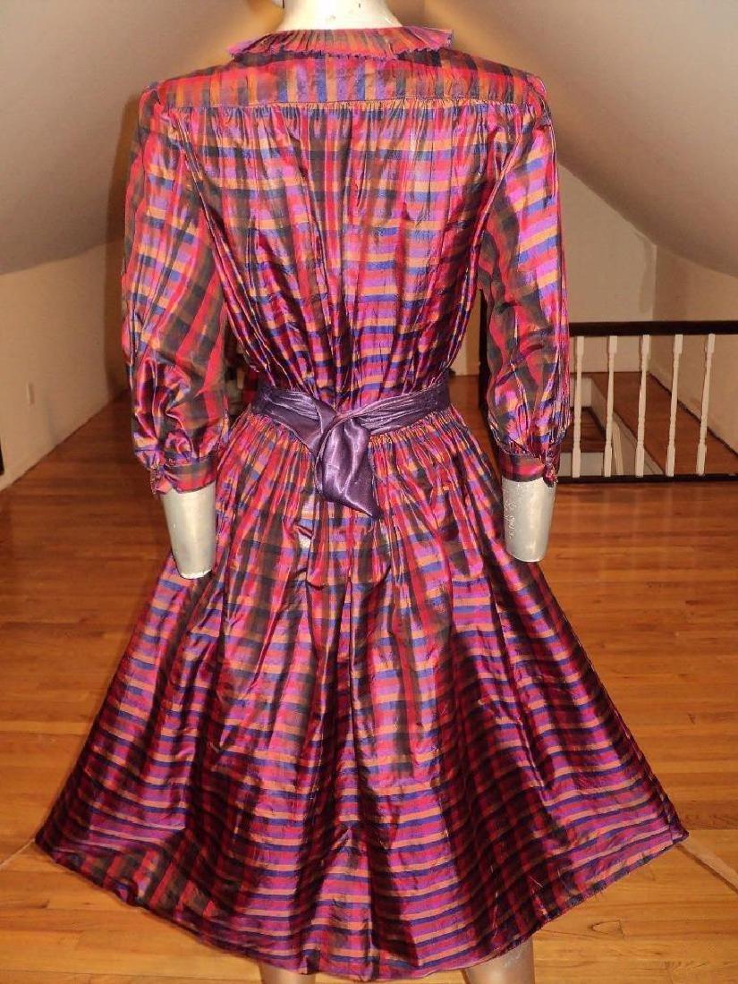 Vintage 1960 Full Sweep Silk Checker Dress Kay Unger - 7