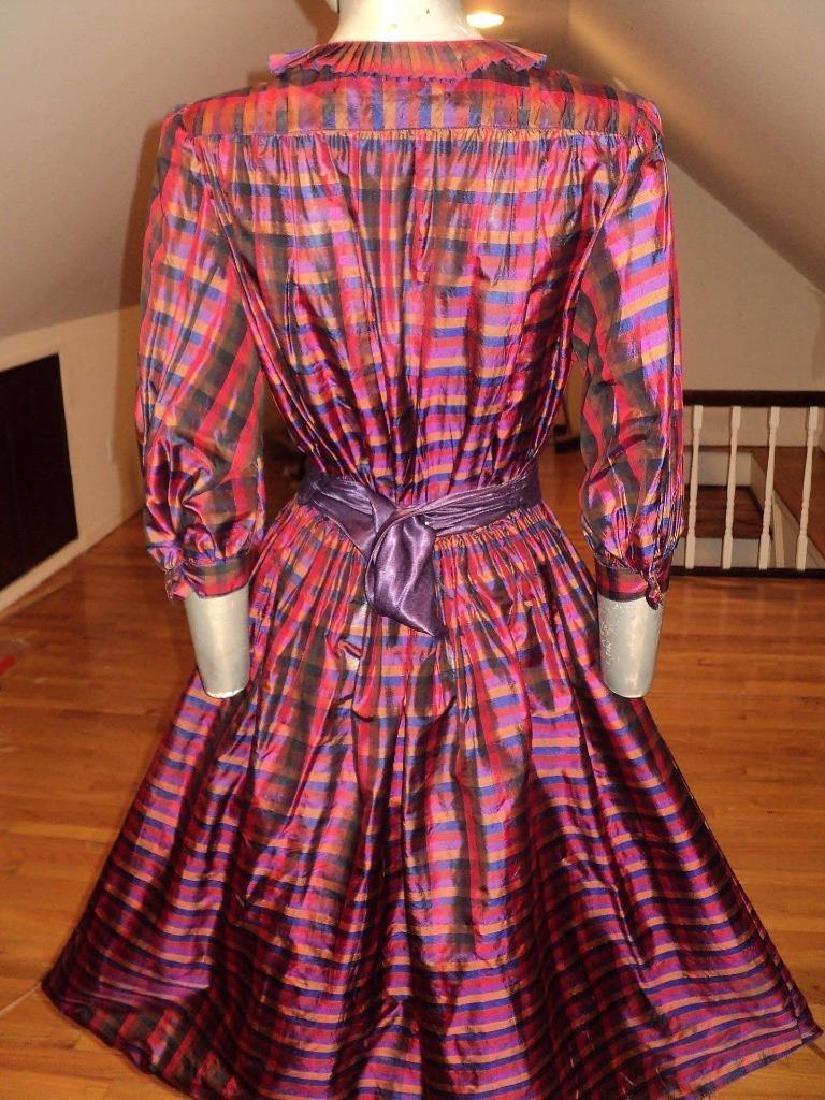 Vintage 1960 Full Sweep Silk Checker Dress Kay Unger - 8