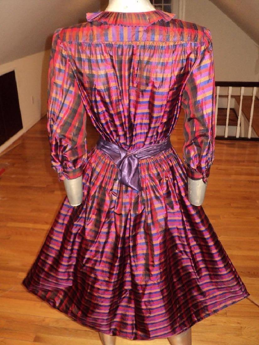 Vintage 1960 Full Sweep Silk Checker Dress Kay Unger - 9