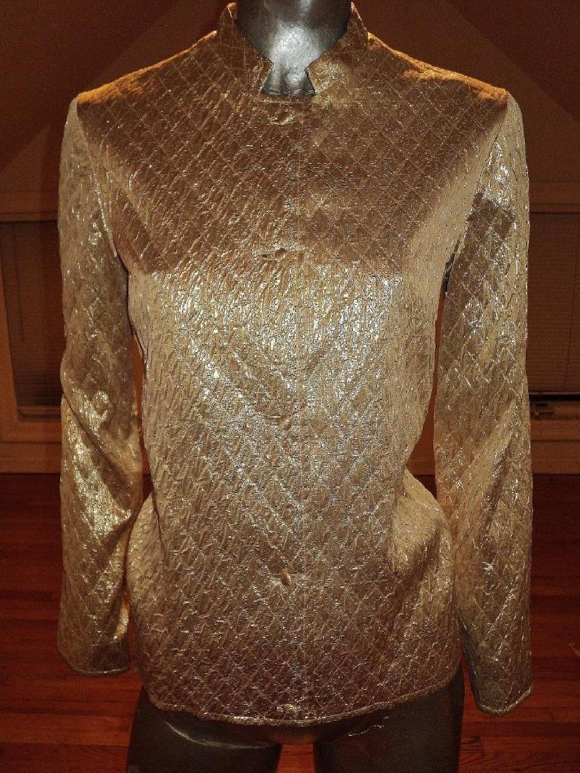 Vintage 1950 Metallic Gold Brocade Jacket Casi Hong - 2