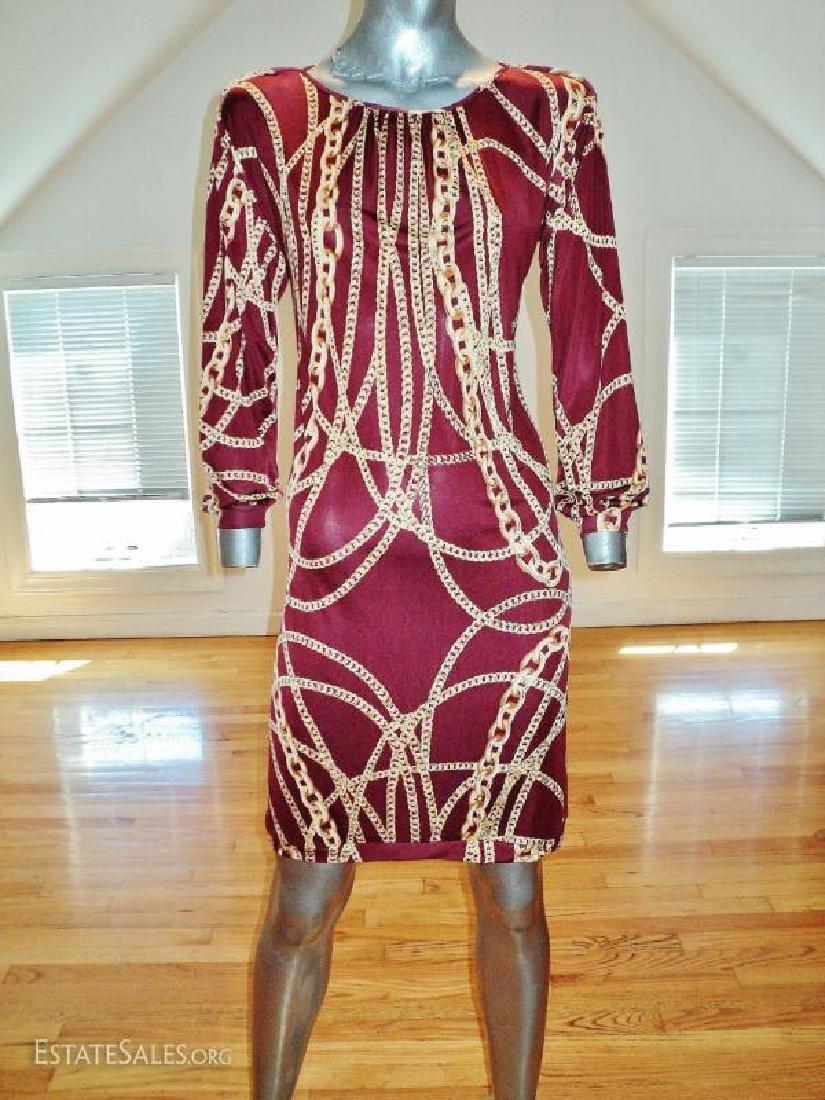 Vtg silk gold chains wiggle dress shirred neckline