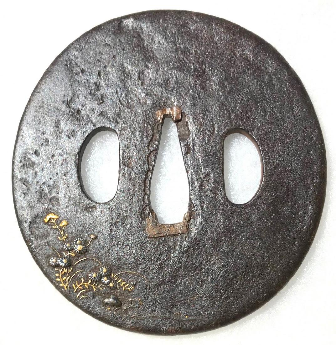 Iron tsuba carved and inlaid with gold, brass, silver, - 2