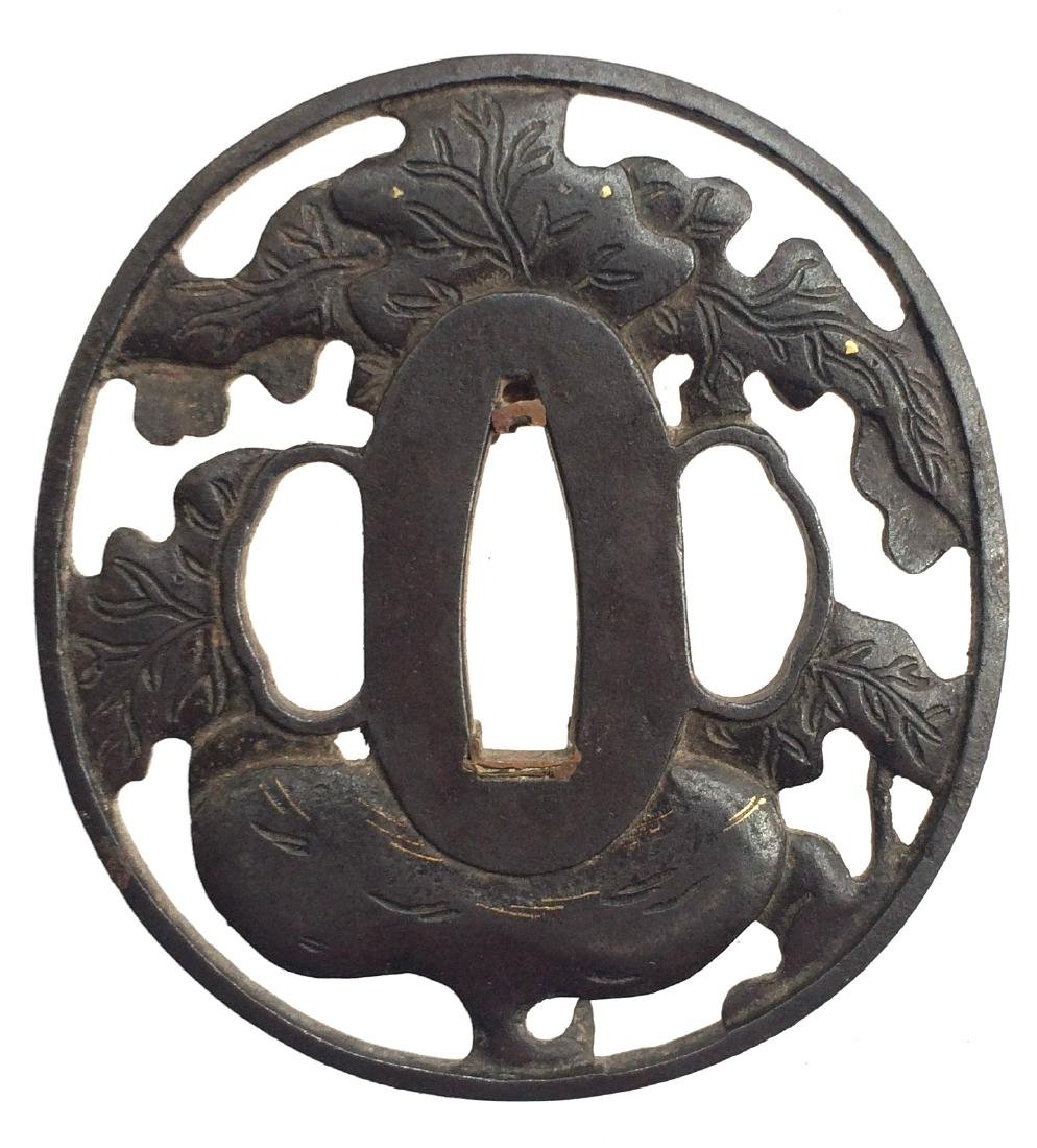Iron tsuba, pierced, carved and inlaid with gold - 2