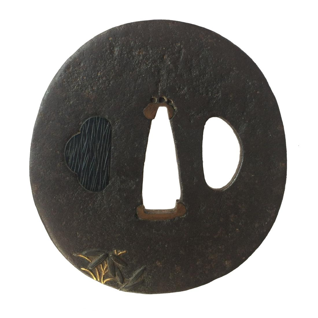 Signed iron tsuba by Nara Shigeharuwith shakudo and - 3