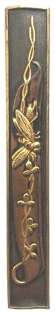 Kozuka (knife handle) carved and inlaid with gold