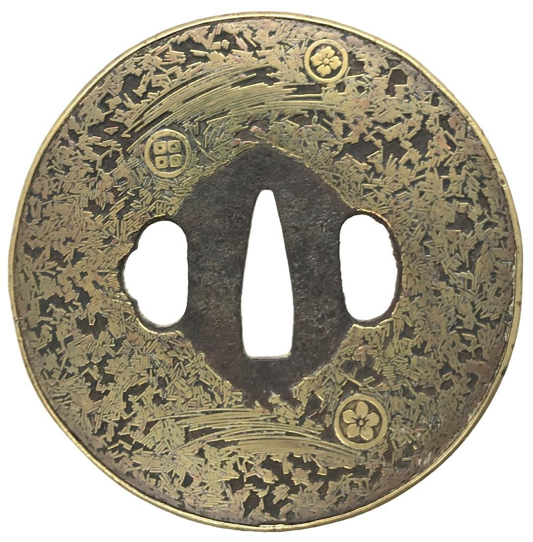 Gomoku-zogan tsuba with family crests (mon) - 2
