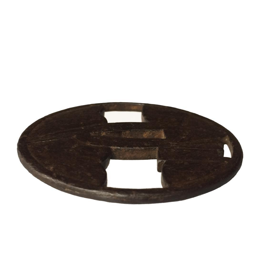 Iron tsuba with wood grain surface (mokume)byKuninaga - 2
