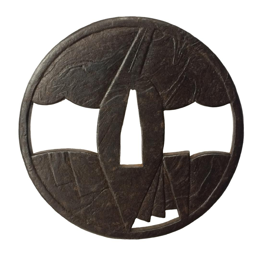 Iron tsuba with wood grain surface (mokume)byKuninaga - 4