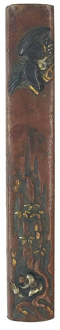 Signed copper kozuka carved and inlaid with shakudo,