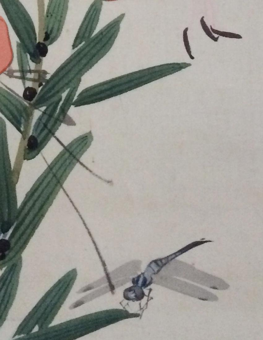 Hanging scroll: Tiger lily and a dragonfly - 4