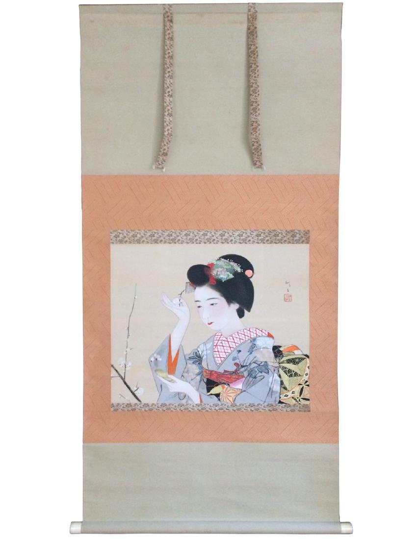 Hanging scroll: Maiko doing a make up