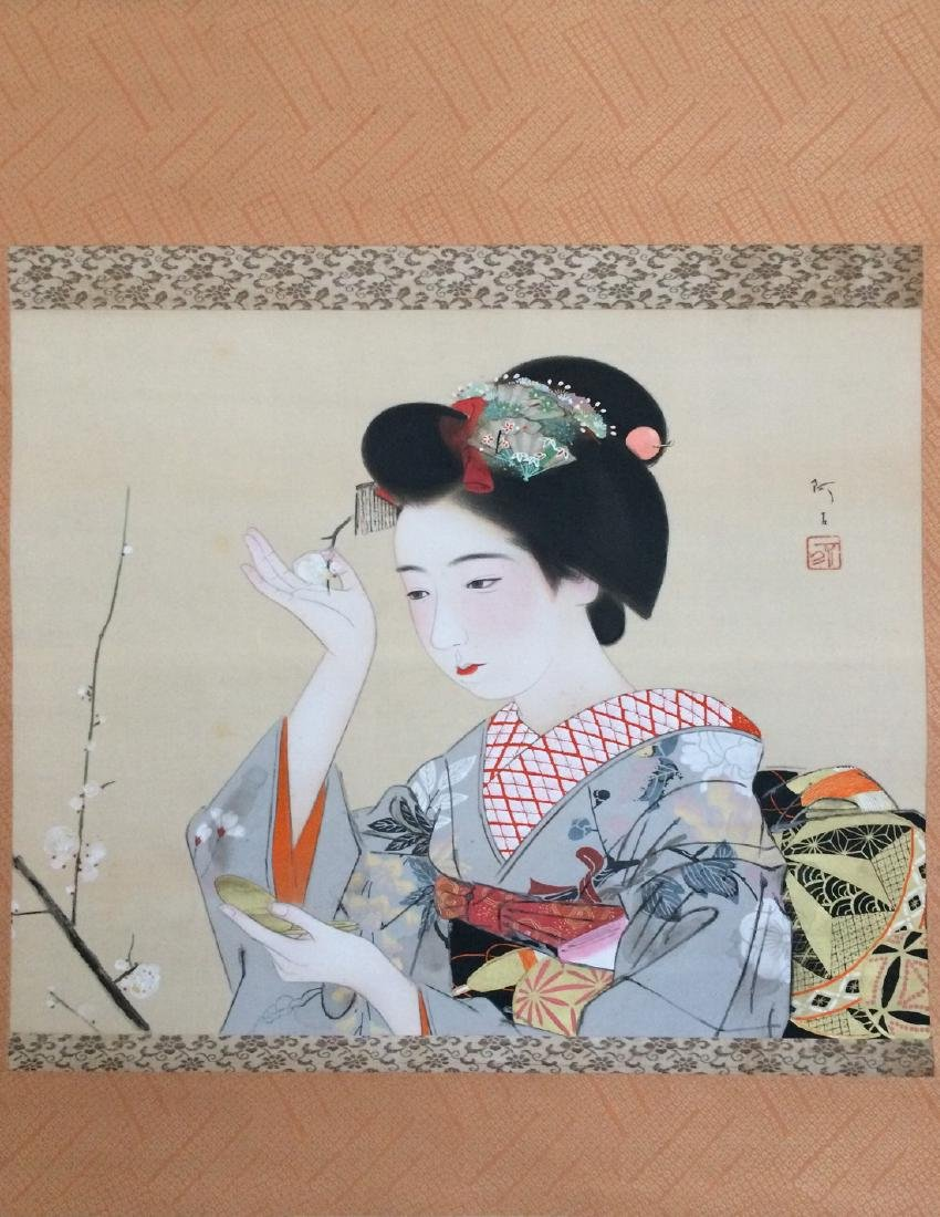 Hanging scroll: Maiko doing a make up - 2