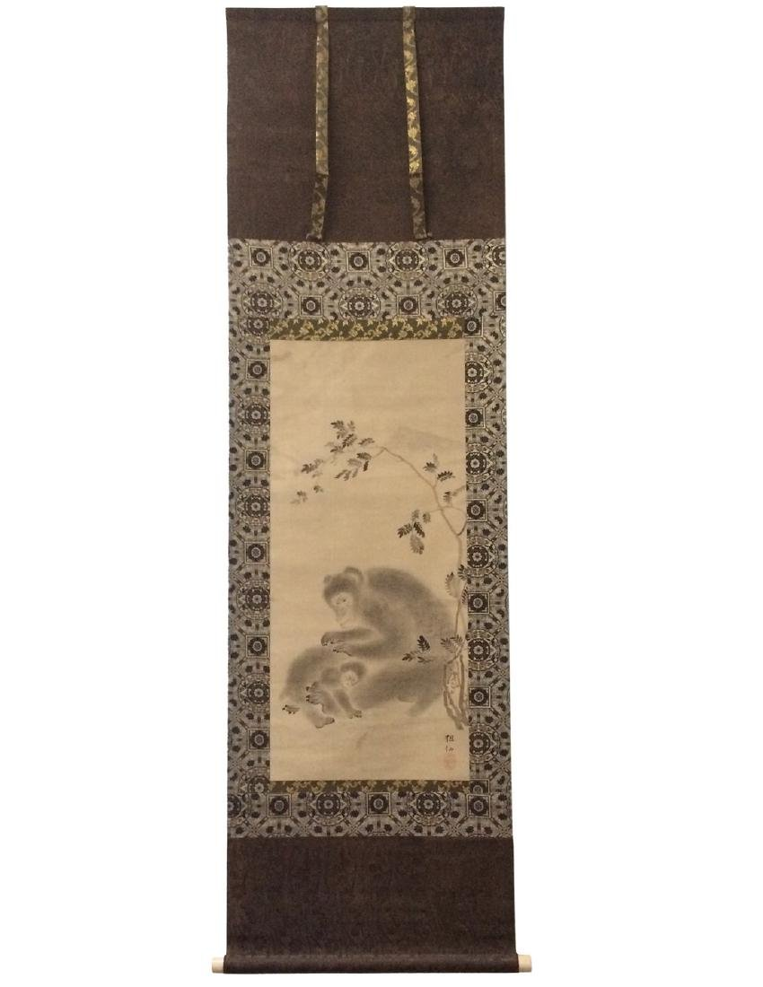 Hanging scroll: Monkey grooming her baby