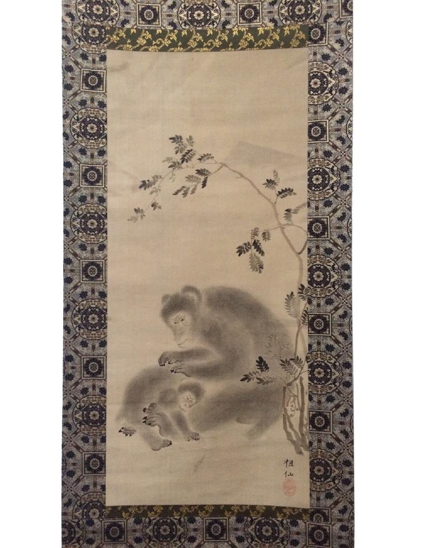 Hanging scroll: Monkey grooming her baby - 2