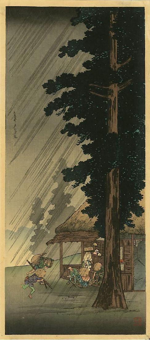 Shotei Takahashi (Hiroaki) Woodblock Evening Shower