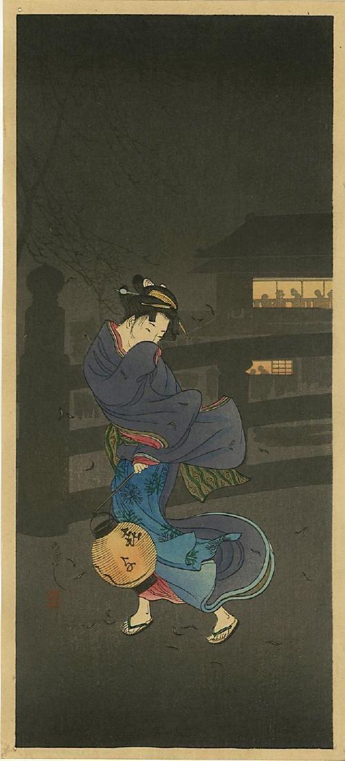 Shotei Takahashi (Hiroaki) Woodblock Cold Winter Wind