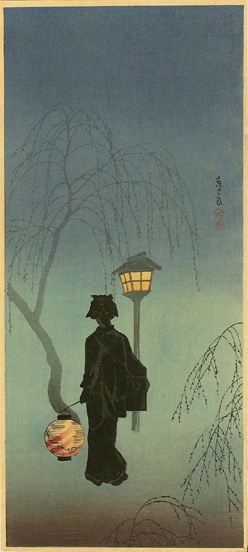 Shotei Takahashi (Hiroaki) Woodblock Spring Evening