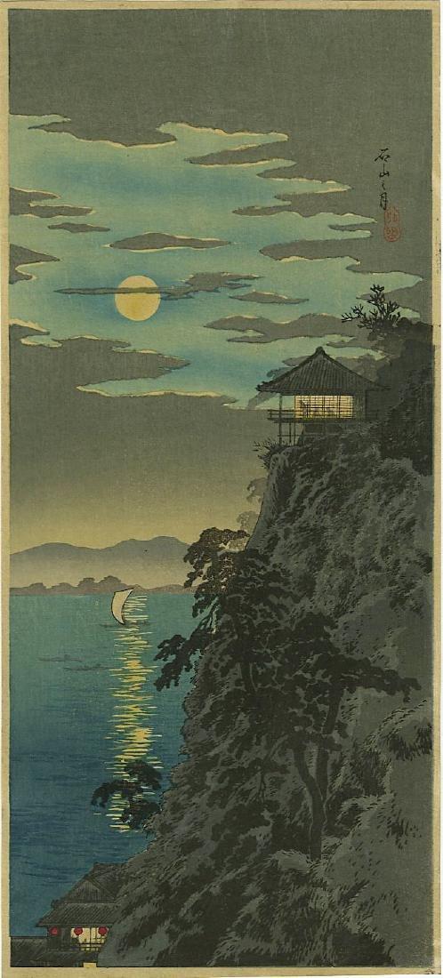 Shotei Takahashi (Hiroaki) Woodblock Moon at Ishiyama