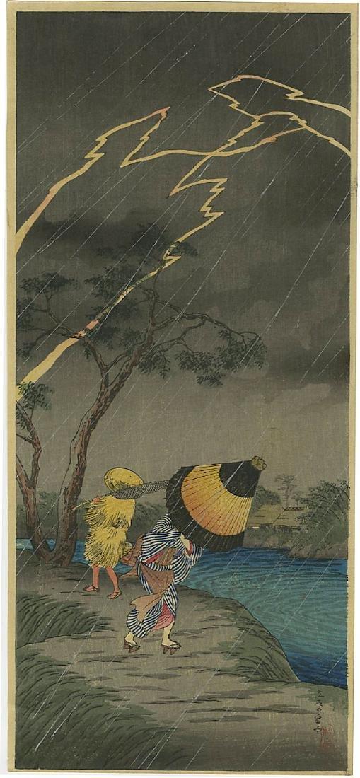 Shotei Takahashi (Hiroaki) Woodblock Thunderstorm